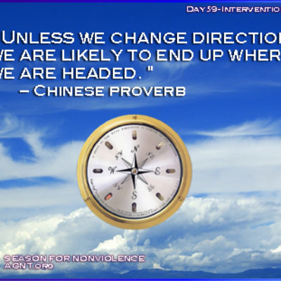 Change direction Chinese probverb with image of clouds in a blue sky and compass