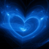 Glowing blue heart vibration image