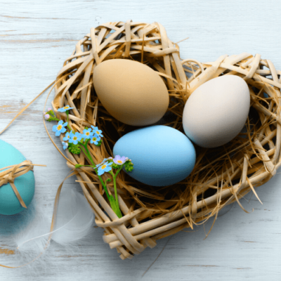 Image of Easter birds nest basket in the shape of a heart