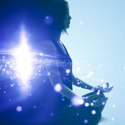 image of woman meditation blue with cosmos