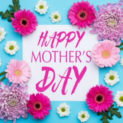 Happy Mothers Day image of a bright blue background with hot pink flowers